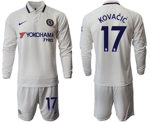 Chelsea #17 Kovacic Away Long Sleeves Soccer Club Jersey