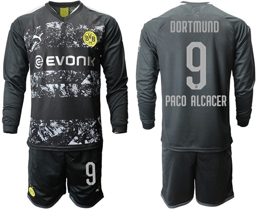 Dortmund #9 Paco Alcacer Away Long Sleeves Soccer Club Jersey