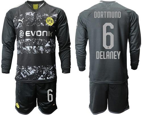 Dortmund #6 Delaney Away Long Sleeves Soccer Club Jersey