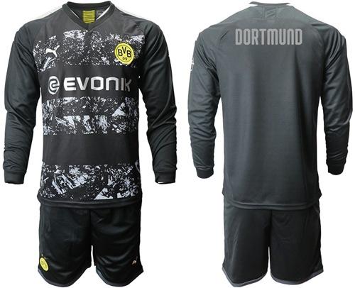 Dortmund Blank Away Long Sleeves Soccer Club Jersey