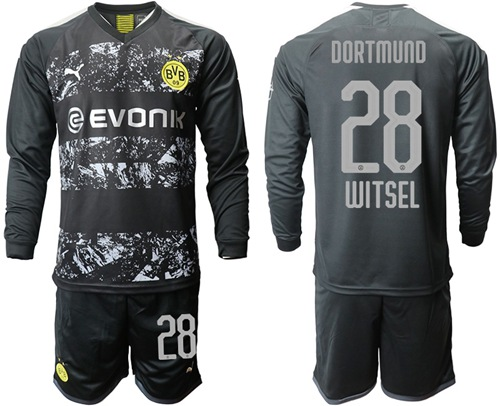 Dortmund #28 Witsel Away Long Sleeves Soccer Club Jersey