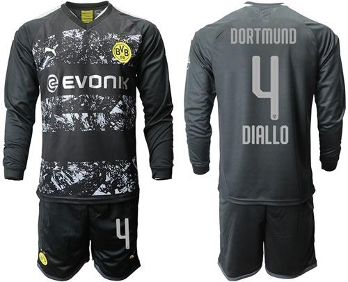 Dortmund #4 Diallo Away Long Sleeves Soccer Club Jersey