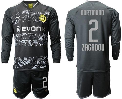 Dortmund #2 Zagadou Away Long Sleeves Soccer Club Jersey