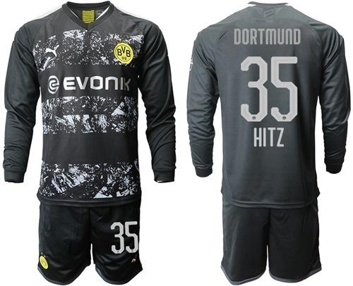 Dortmund #35 Hitz Away Long Sleeves Soccer Club Jersey