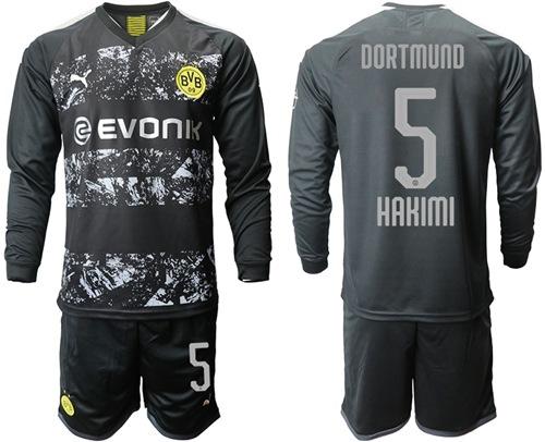 Dortmund #5 Hakimi Away Long Sleeves Soccer Club Jersey