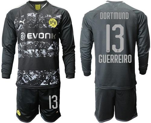 Dortmund #13 Guerreiro Away Long Sleeves Soccer Club Jersey