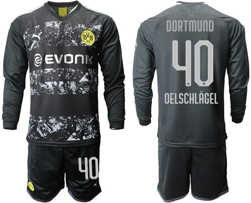 Dortmund #40 Oelschlagel Away Long Sleeves Soccer Club Jersey