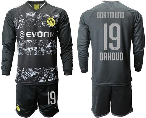 Dortmund #19 Dahoud Away Long Sleeves Soccer Club Jersey