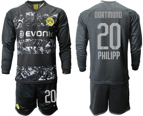 Dortmund #20 Philipp Away Long Sleeves Soccer Club Jersey