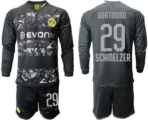 Dortmund #29 Schmelzer Away Long Sleeves Soccer Club Jersey