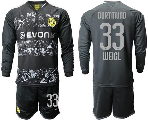 Dortmund #33 Weigl Away Long Sleeves Soccer Club Jersey