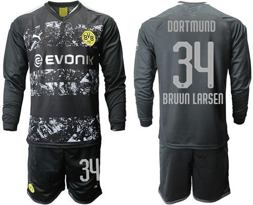 Dortmund #34 Bruun Larsen Away Long Sleeves Soccer Club Jersey