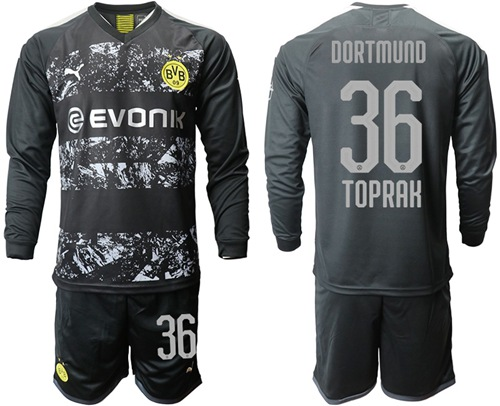 Dortmund #36 Toprak Away Long Sleeves Soccer Club Jersey
