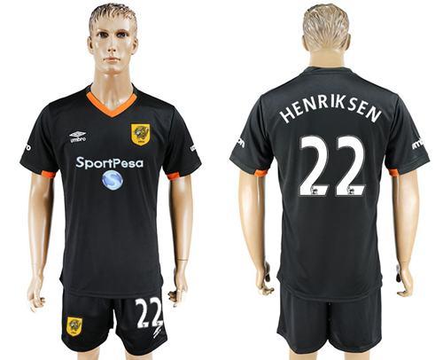 Hull City #22 Henriksen Away Soccer Club Jersey