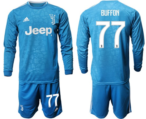 Juventus #77 Buffon Third Long Sleeves Soccer Club Jersey