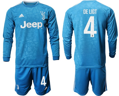 Juventus #4 De Ligt Third Long Sleeves Soccer Club Jersey