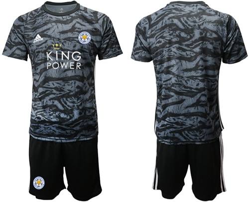 Leicester City Blank Black Goalkeeper Soccer Club Jersey
