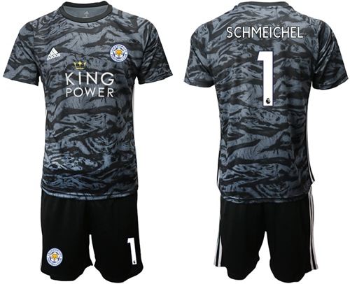 Leicester City #1 Schmeichel Black Goalkeeper Soccer Club Jersey