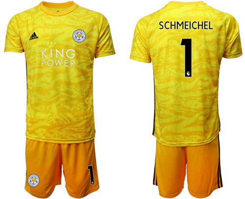 Leicester City #1 Schmeichel Yellow Goalkeeper Soccer Club Jersey