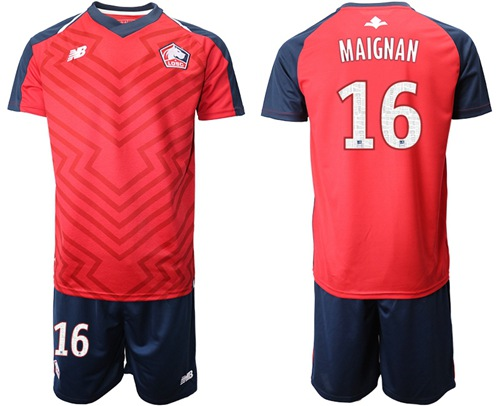 Lille #16 Maignan Home Soccer Club Jersey