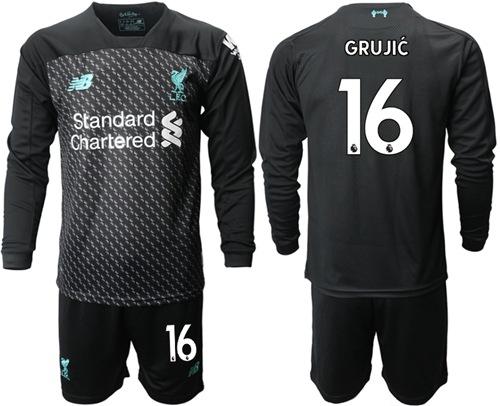 Liverpool #16 Grujic Third Long Sleeves Soccer Club Jersey