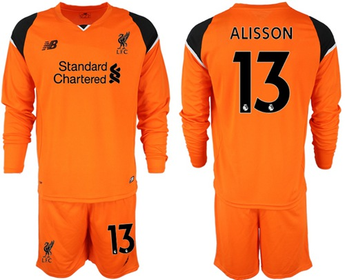 Liverpool #13 Alisson Orange Goalkeeper Long Sleeves Soccer Club Jersey