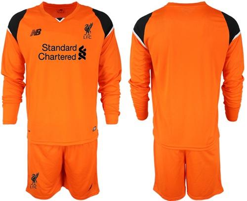 Liverpool Blank Orange Goalkeeper Long Sleeves Soccer Club Jersey