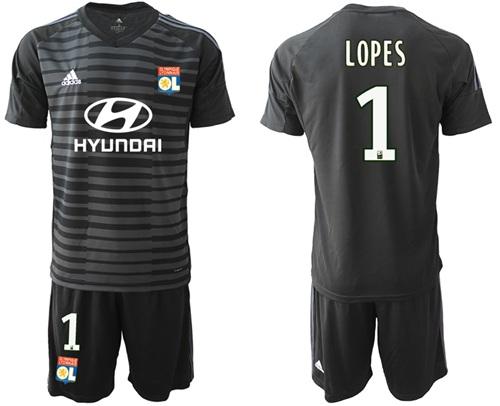 Lyon #1 Lopes Black Goalkeeper Soccer Club Jersey