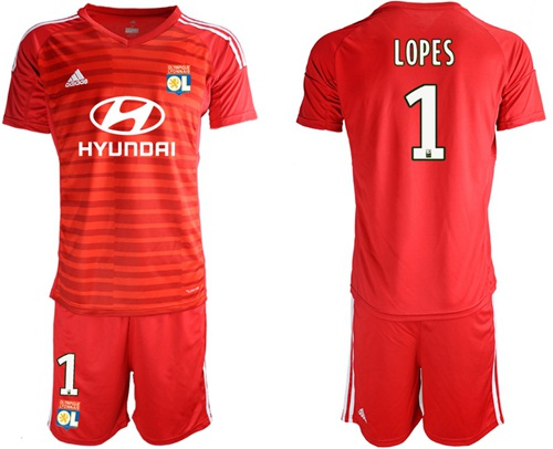 Lyon #1 Lopes Red Goalkeeper Soccer Club Jersey