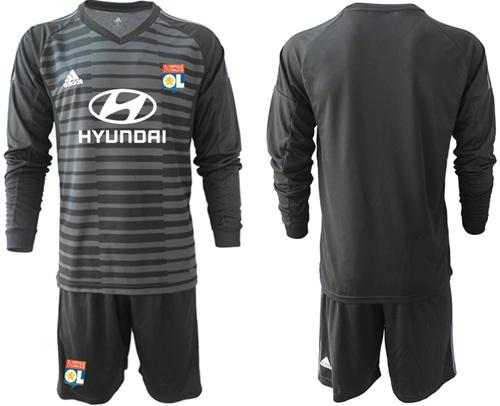 Lyon Blank Black Goalkeeper Long Sleeves Soccer Club Jersey
