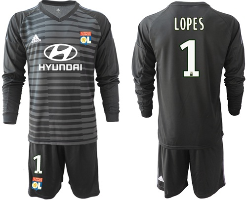 Lyon #1 Lopes Black Goalkeeper Long Sleeves Soccer Club Jersey