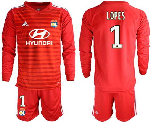 Lyon #1 Lopes Red Goalkeeper Long Sleeves Soccer Club Jersey