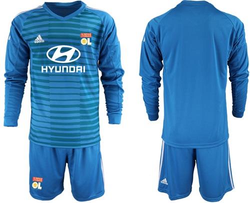 Lyon Blank Blue Goalkeeper Long Sleeves Soccer Club Jersey