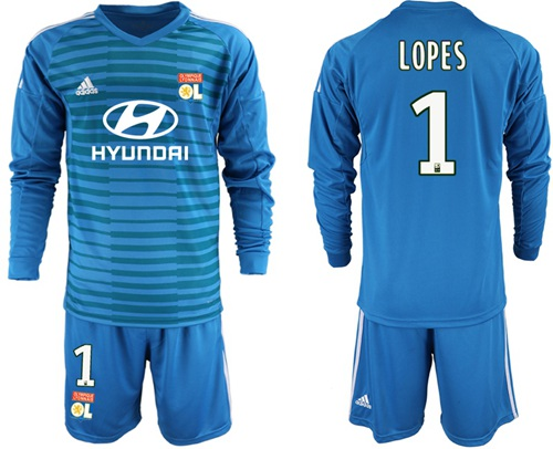 Lyon #1 Lopes Blue Goalkeeper Long Sleeves Soccer Club Jersey