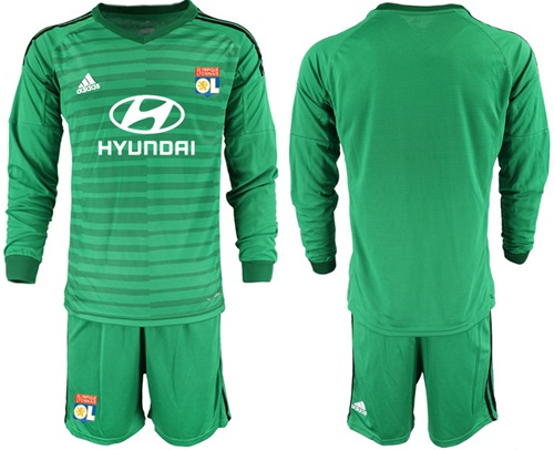 Lyon Blank Green Goalkeeper Long Sleeves Soccer Club Jersey