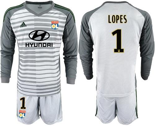 Lyon #1 Lopes Grey Goalkeeper Long Sleeves Soccer Club Jersey
