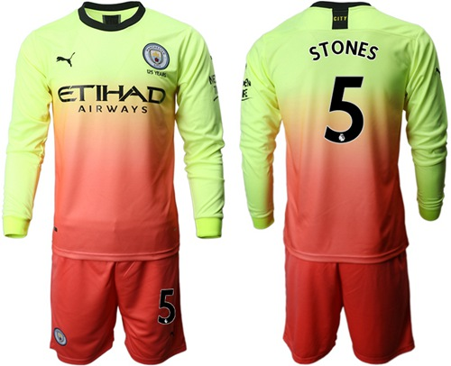 Manchester City #5 Stones Third Long Sleeves Soccer Club Jersey