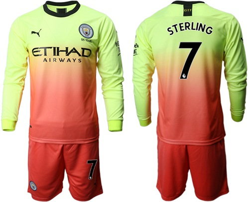 Manchester City #7 Sterling Third Long Sleeves Soccer Club Jersey
