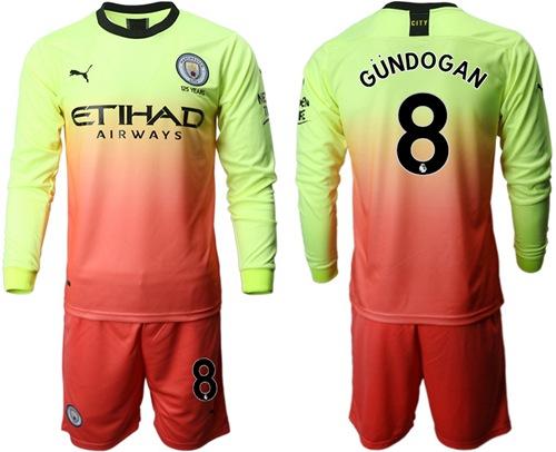 Manchester City #8 Gundogan Third Long Sleeves Soccer Club Jersey