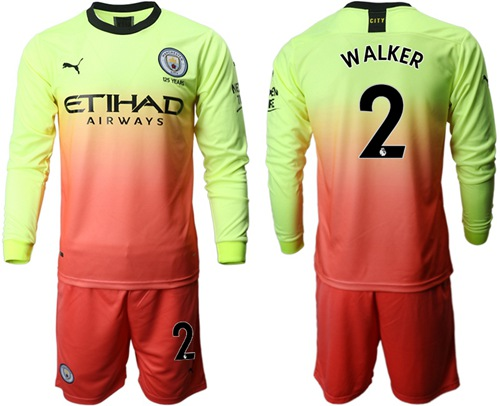 Manchester City #2 Walker Third Long Sleeves Soccer Club Jersey