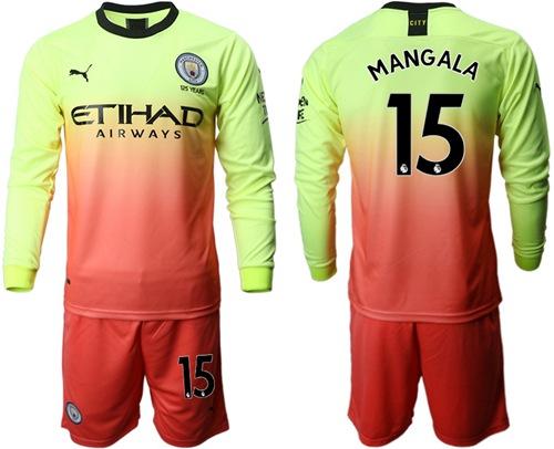 Manchester City #15 Mangala Third Long Sleeves Soccer Club Jersey