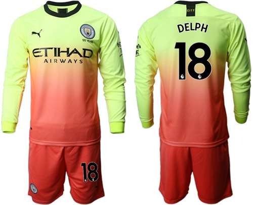 Manchester City #18 Delph Third Long Sleeves Soccer Club Jersey