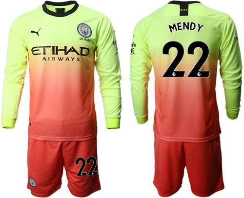 Manchester City #22 Mendy Third Long Sleeves Soccer Club Jersey
