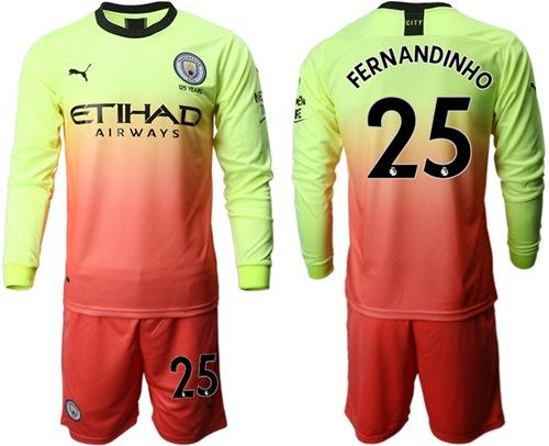 Manchester City #25 Fernandinho Third Long Sleeves Soccer Club Jersey