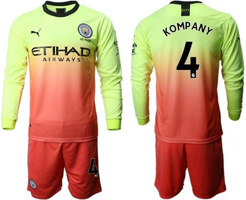 Manchester City #4 Kompany Third Long Sleeves Soccer Club Jersey