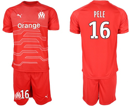 Marseille #16 Pele Red Goalkeeper Soccer Club Jersey