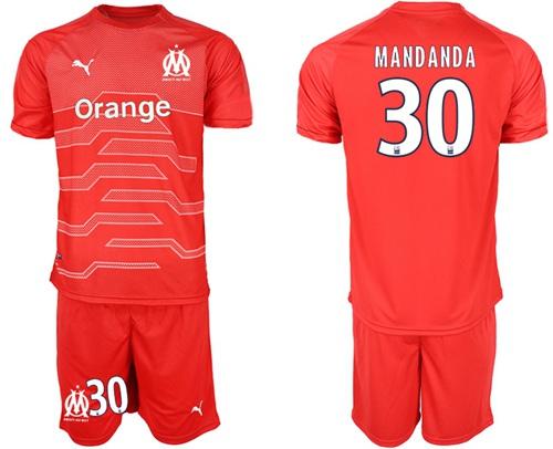 Marseille #30 Mandanda Red Goalkeeper Soccer Club Jersey