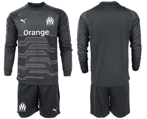 Marseille Blank Black Goalkeeper Long Sleeves Soccer Club Jersey
