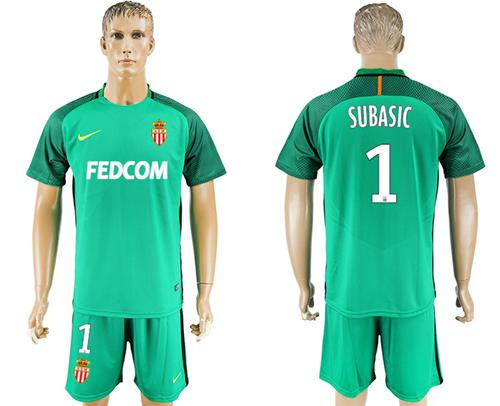 Monaco #1 Subasic Green Goalkeeper Soccer Club Jersey