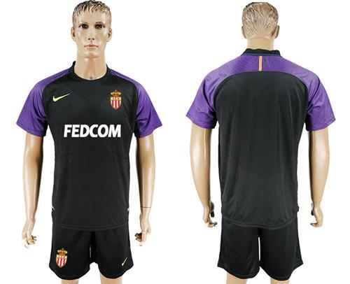 Monaco Blank Black Goalkeeper Soccer Club Jersey